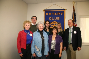 Bernadette Lovato, Sunrise Rotary President welcomes new members! From left to right: Mark Flippin, Cheyenne Stone, Kammi Foote, Eric Butner Joanne Parsons, Ann Fulton, Bernadette Lovato