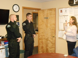 Town Clerk Jamie Gray swearing in new officers