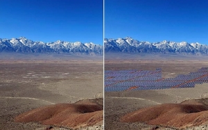View of possible before and after SOVSR. Westward view from Inyo Mountains.  Photo by Bill Helmer