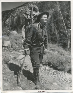 Norman Clyde in the prime of his outdoor life, looking as imposing as the granite peaks of the Sierra which he helped scale in the 1930s, with the help of just a rope, hob-nailed boots, his ice axe and few other pioneering climbers such as Glen Dawson and Jules Eichorn. Photo courtesy the Eastern California Museum.