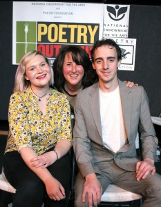 From left, Kate Wilson, Mono County's Poetry Out Loud winner, Mammoth Lakes Repertory Theatre's Artistic Director and host Shira Dubrovner, and Lance Warner, the runner up. Photo/Aleksandra Mendel