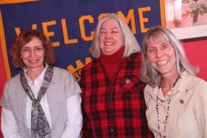"Janet Guglielmino, Yvonne Karzenstein and President ""Sue Lyndes Photo by Ed Nahin"