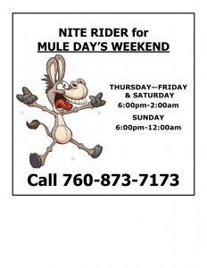 Mule Days Nite Rider Flyer