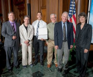 From right to left: Janet McCabe, EPA acting Assistant Administrator for the Office of Air and Radiation Ted Shade, Retired Air Pollution Control Officer, Chris Lanane, Air Monitoring Specialist Phillip L. Kiddoo, Air Pollution Control Officer Grace Holder, Senior Scientist Nik Barbieri, Director of Technical Services Photo Credit: EPA