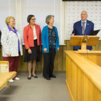 Dr. John Ungersma, second from left, president of the NIHD Board of Directors, thanks the Bishop City Council for its recognition of the Healthcare District during last Monday's council meeting. Looking on are, from left, Dr. Kevin Flanigan, NIHD's Chief Executive Officer; NIHD Board Members Mary Mae Kilpatrick, Jean Turner and MC Hubbard, and Bishop Mayor Karen Schwartz. Photo by Barbara Laughon/Northern Inyo Healthcare District
