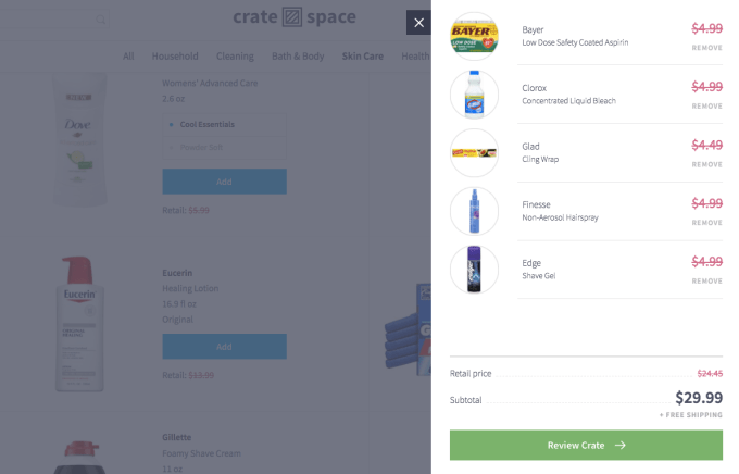 Online Shopping Crate Space