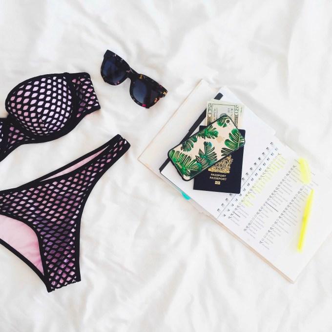 bikini flatlay