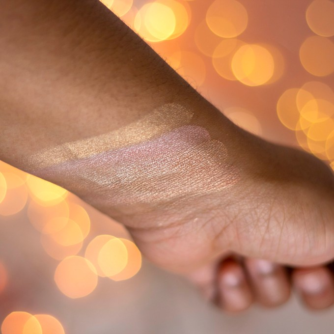 Palladio Sunkissed Highlighters swatch on brown skin