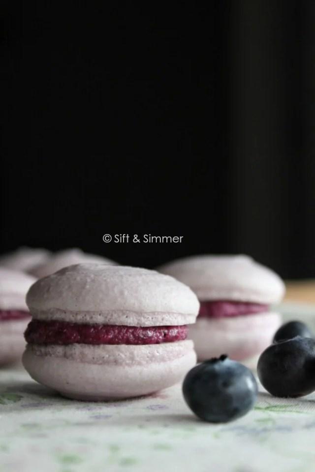 Vegan Blueberry Macarons