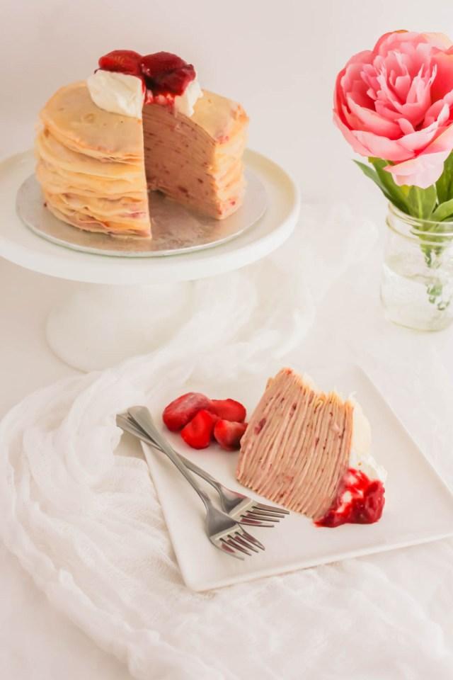 Rose Strawberry Hibiscus Mille Crepe Cake1