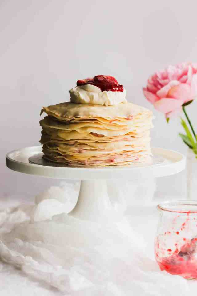 Rose Strawberry Hibiscus Mille Crepe Cake3