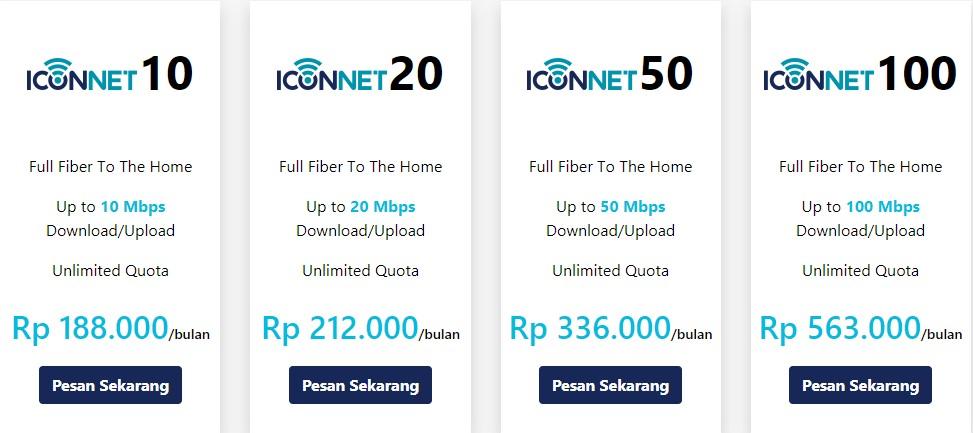 Daftar Harga Paket Internet Iconnect Jawa & Bali