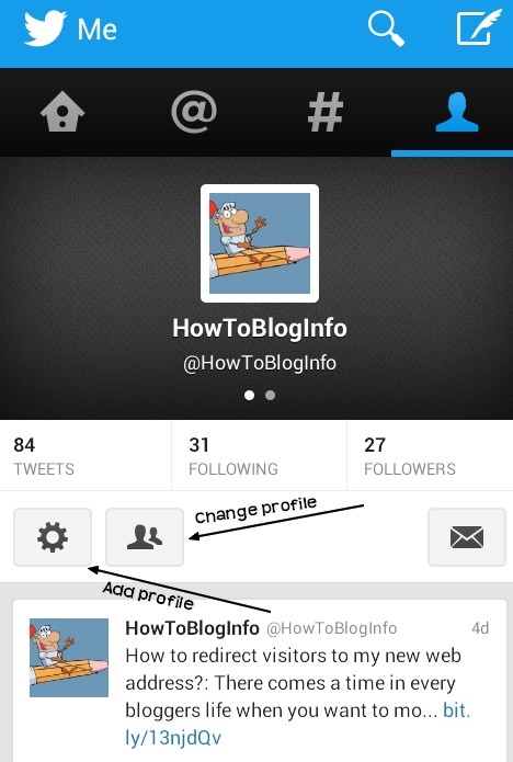 change profile in Twitter Android Applications