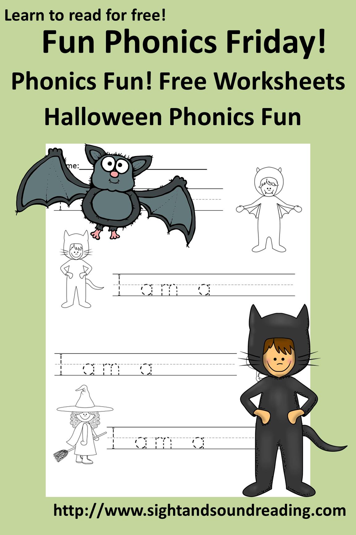 hight resolution of Free phonics worksheet for Halloween. Fun activity for kindergarten.