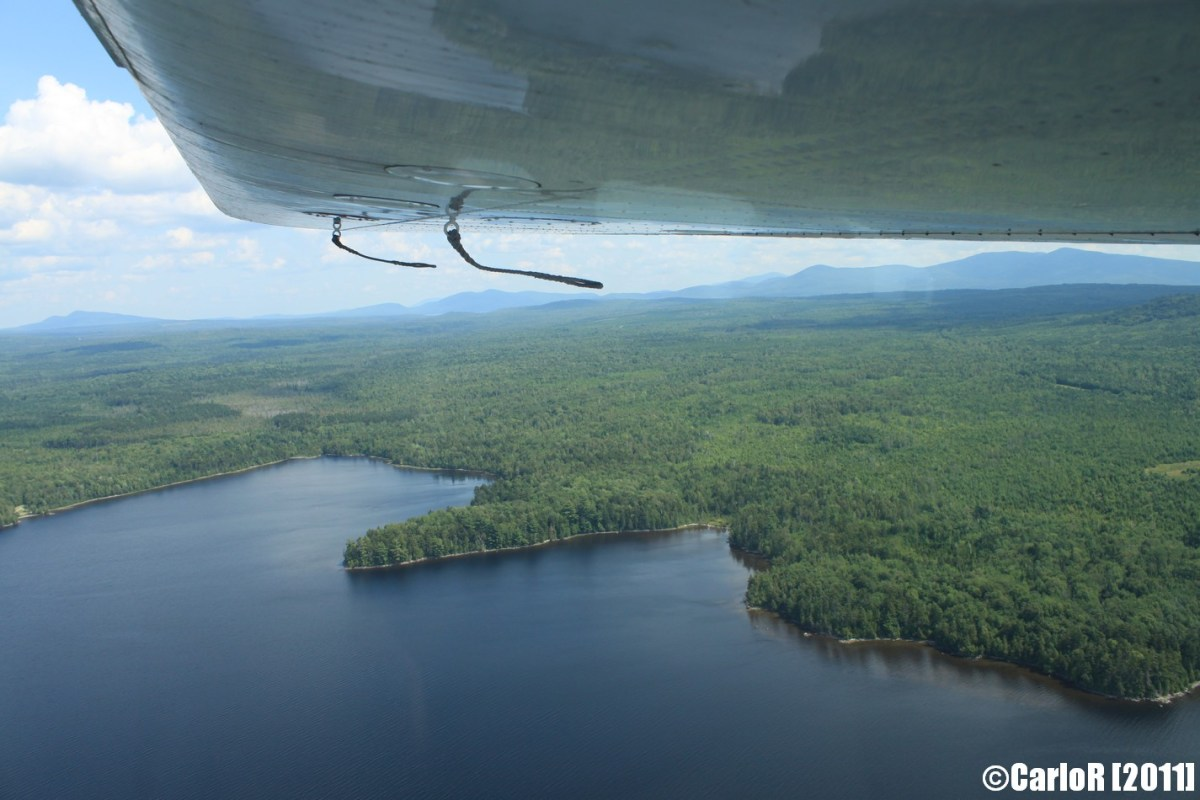 Flying over Moosehead Lake & Lobster Lake, Maine