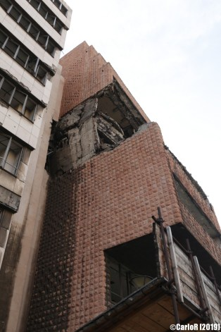 Damaged bombarded buildings central Belgrade Serbia