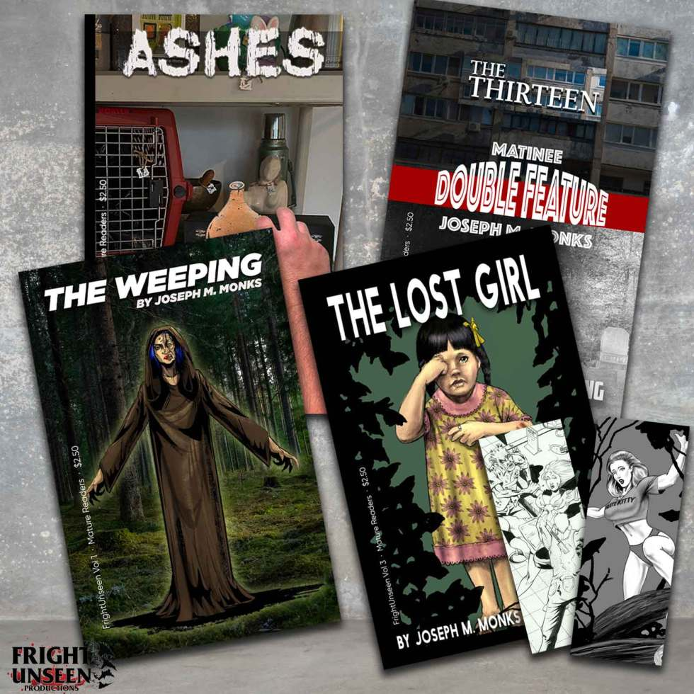 Collage of four volume covers, featuring Ashes, The Weeping, Double Feature and The Lost Girl