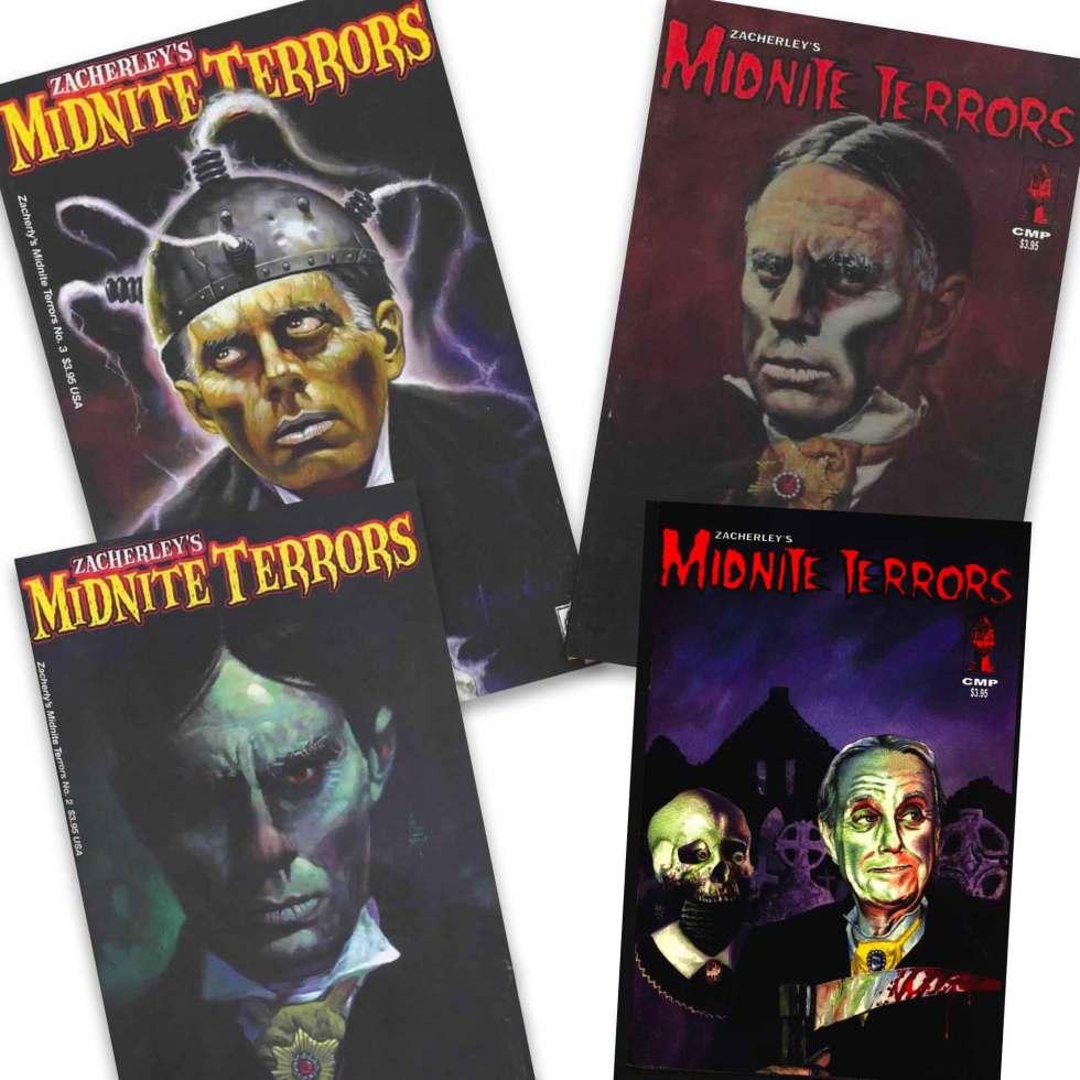 Zacherley's Midnite Terrors 1-3 comic book covers