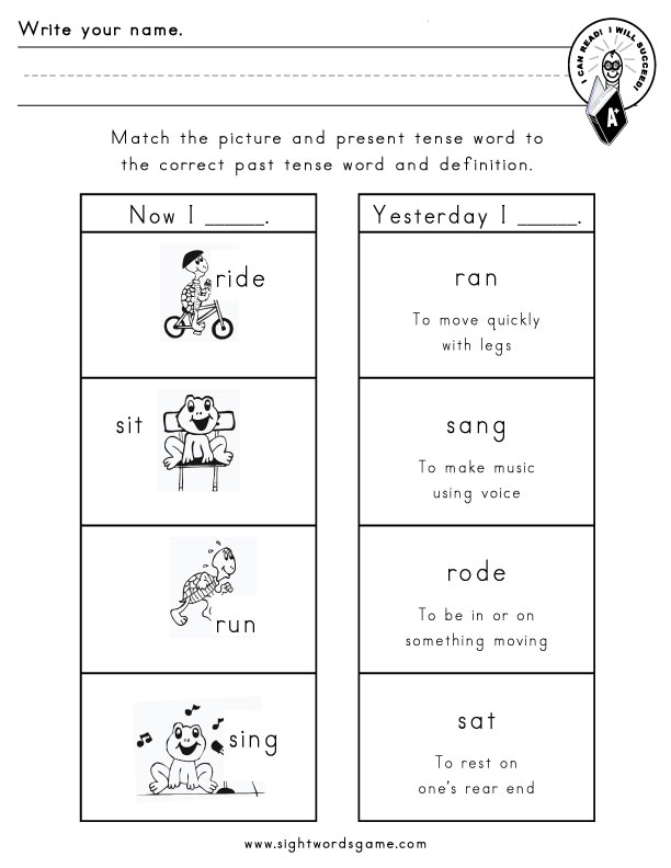 Irregular Verbs Worksheet Printable
