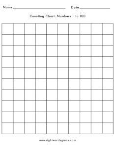 Free printable counting charts also chart numbers to sight words reading writing rh sightwordsgame