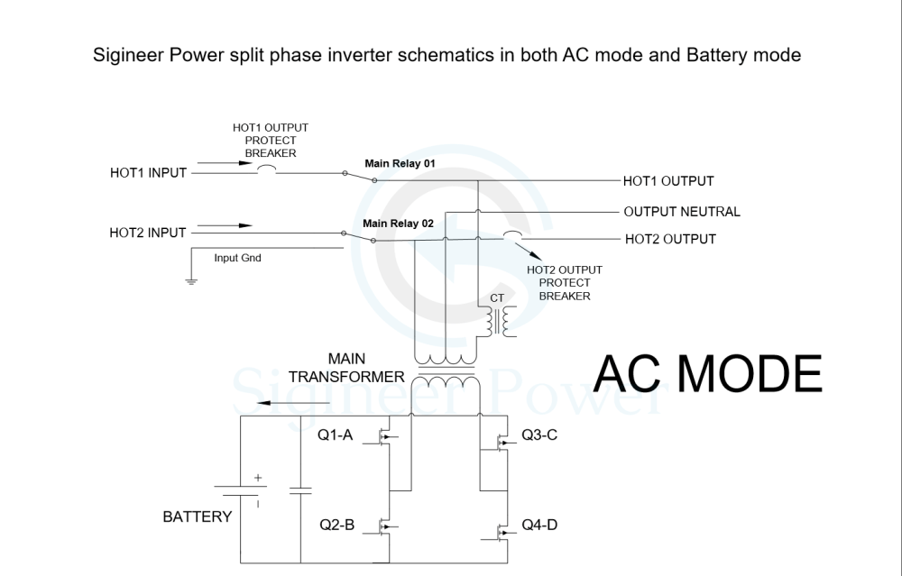 medium resolution of split phase inverter schematic of ac and inverter mode for mini split ac wiring diagrams rheem ac wiring diagram