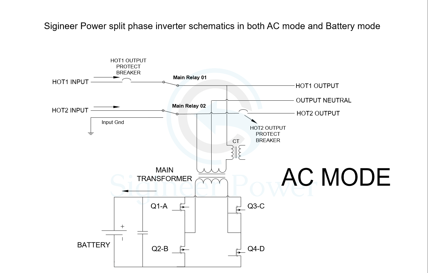 hight resolution of split phase inverter schematic of ac and inverter mode for mini split ac wiring diagrams rheem ac wiring diagram