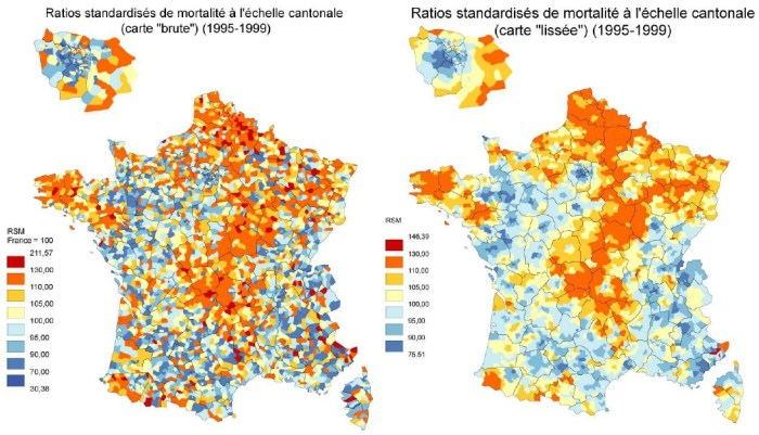 Exemple de résultat d'application d'une méthode de lissage des indicateurs d'incidence sur la France : ratios standardisés de mortalité par canton entre 1995 et 1999.