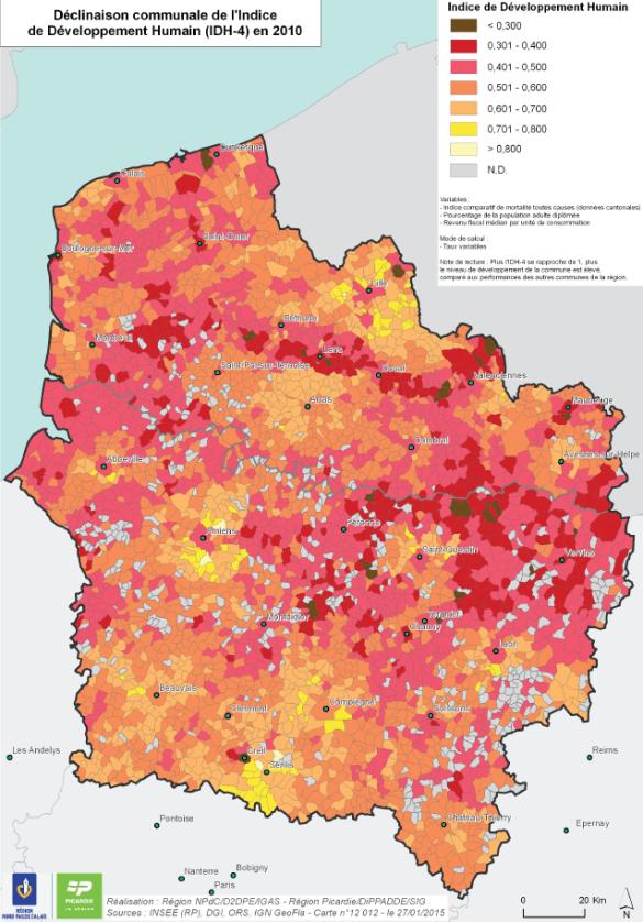 Carte de l'Indice de Développement Humain (IDH-4) en 2010 par commune pour la région des Hauts-de-France.