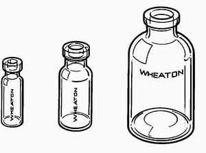 Wheaton glass serum bottle volume 50 mL, clear, O.D. 20 mm