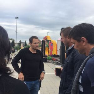Radim Kuče, Martin Kotůlek a Jakub Podaný při konverzaci o fotbal, Kučova pětka 2017