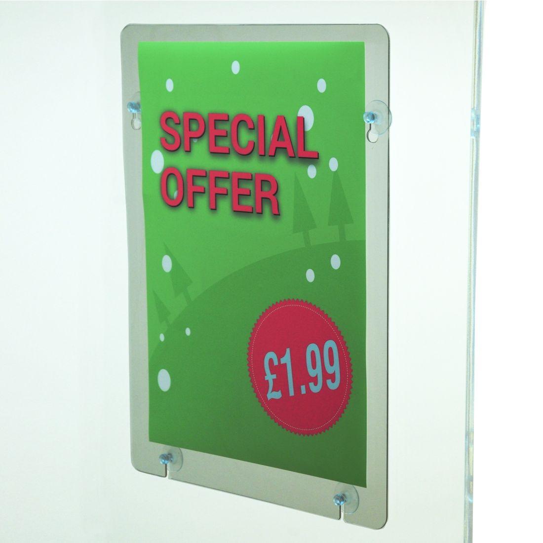 Large window poster pocket holder for shops