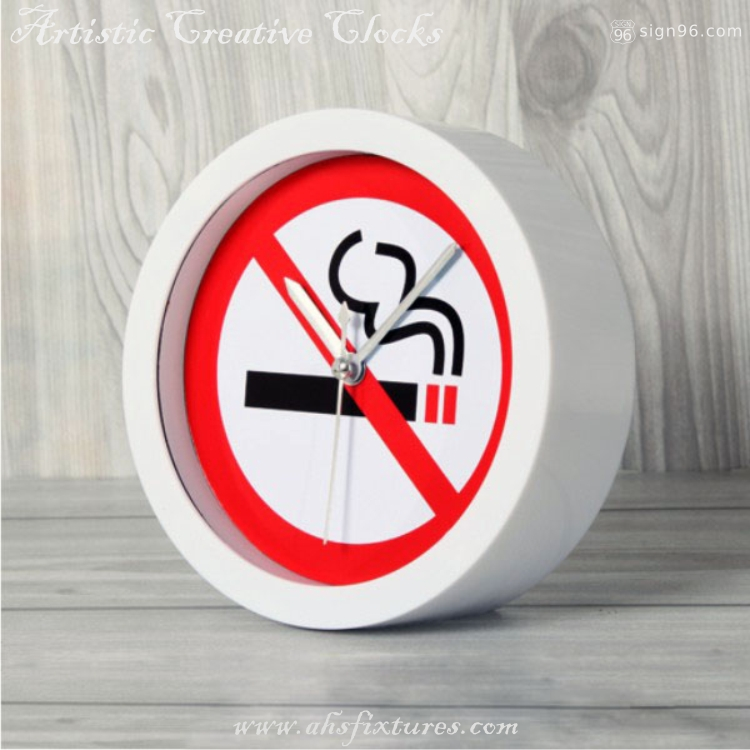 No Smoking Sign Table Top Display Desktop Clock