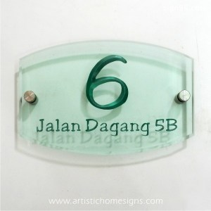 Tinted Green Acrylic With Silver Letters