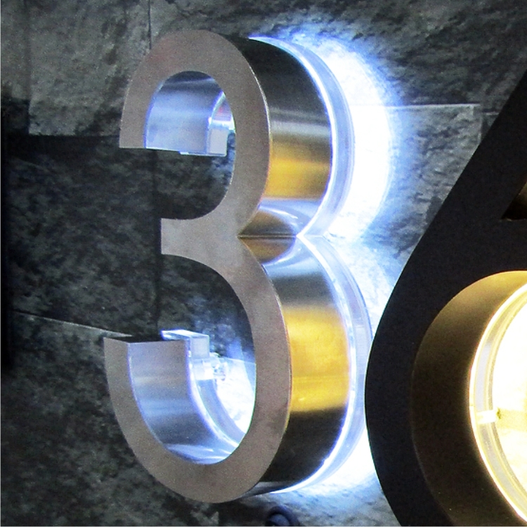 Illuminated Backlit Satin Stainless Steel House Number Signs Made In Malaysia
