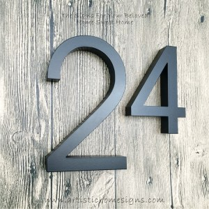 Weather Resistant House Numbers - Black Box Up Lettering With Pin Mounted Made In Malaysia