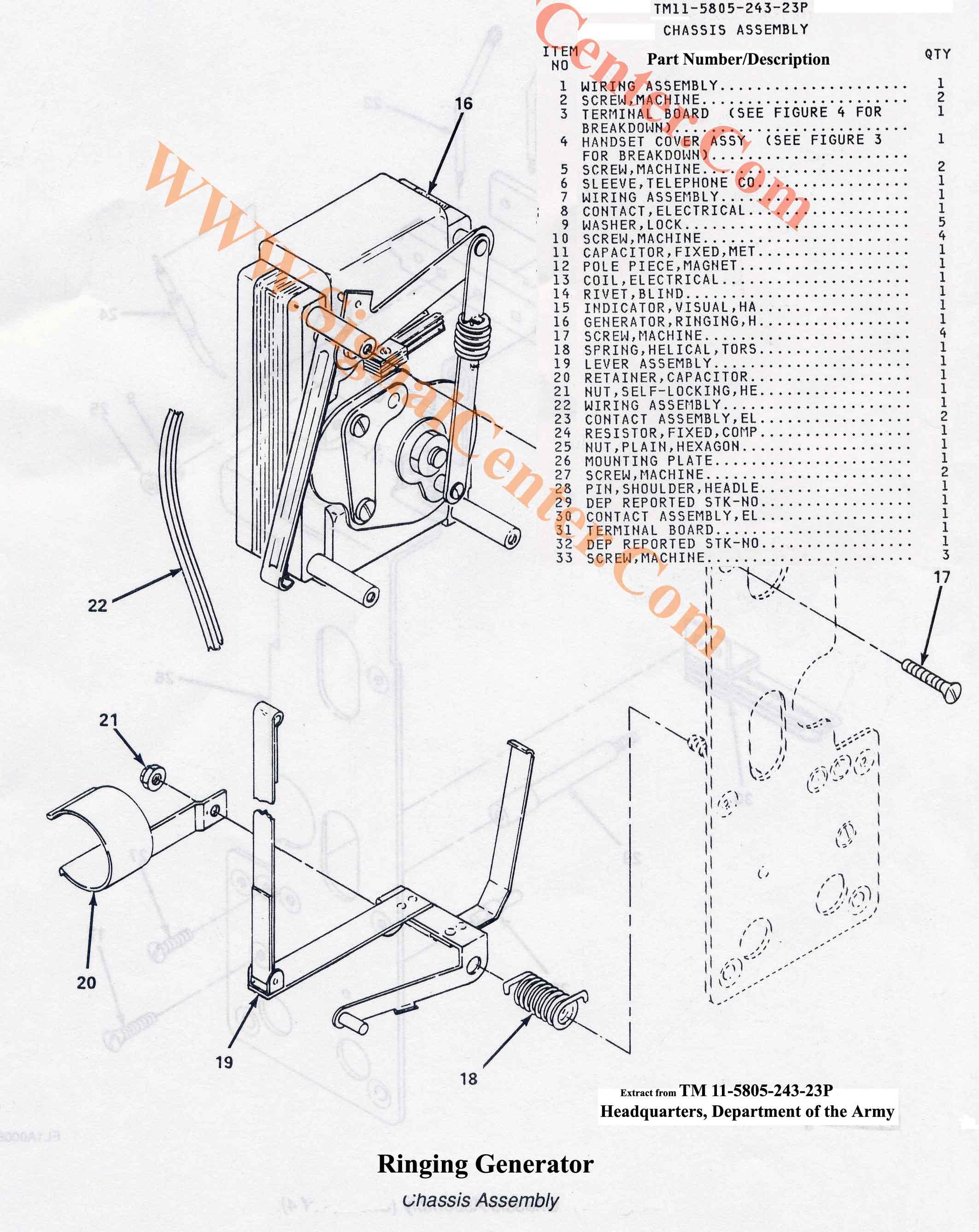TA-1/PT Ringing Generator Assembly
