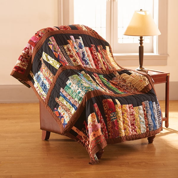 library books quilted throw