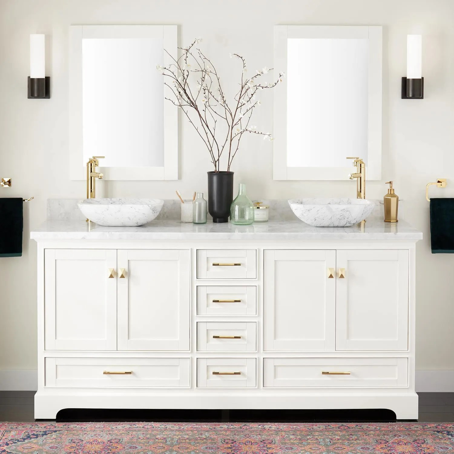 72 Quen Double Vessel Sink Vanity White Bathroom