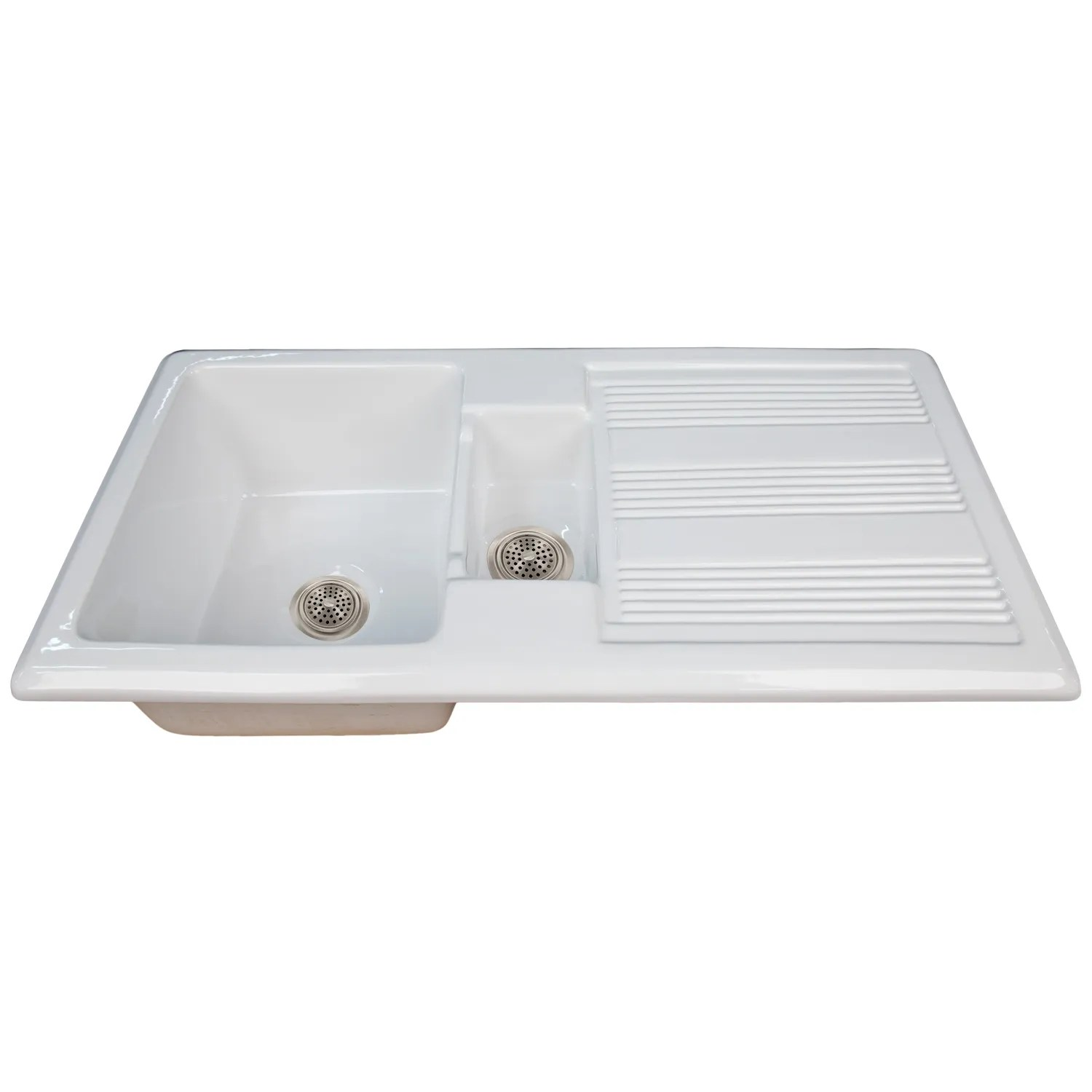 old kitchen sink with drainboard white washed table signature hardware 40 quot nevan fireclay drop in