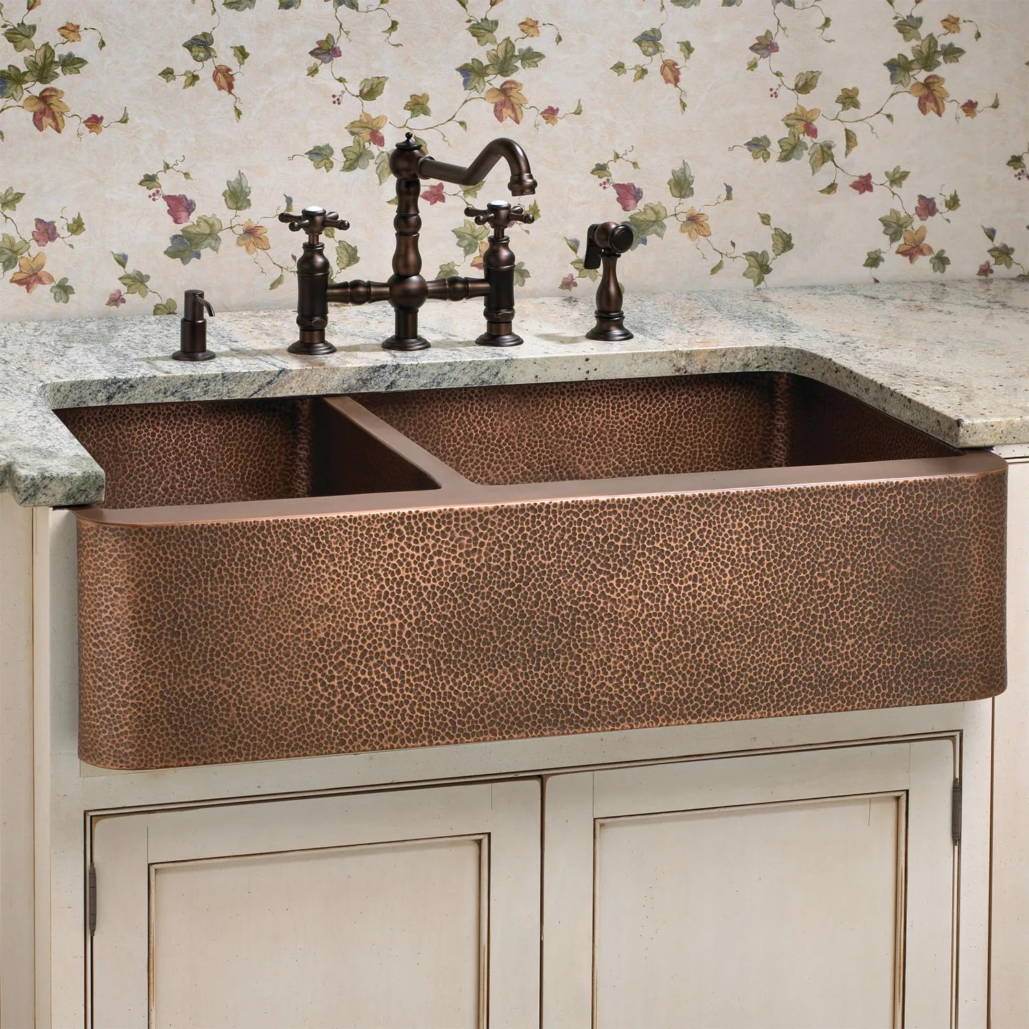 33 Hammered Copper 60 40 Offset Double Bowl Farmhouse Sink Small Bowl Left  eBay