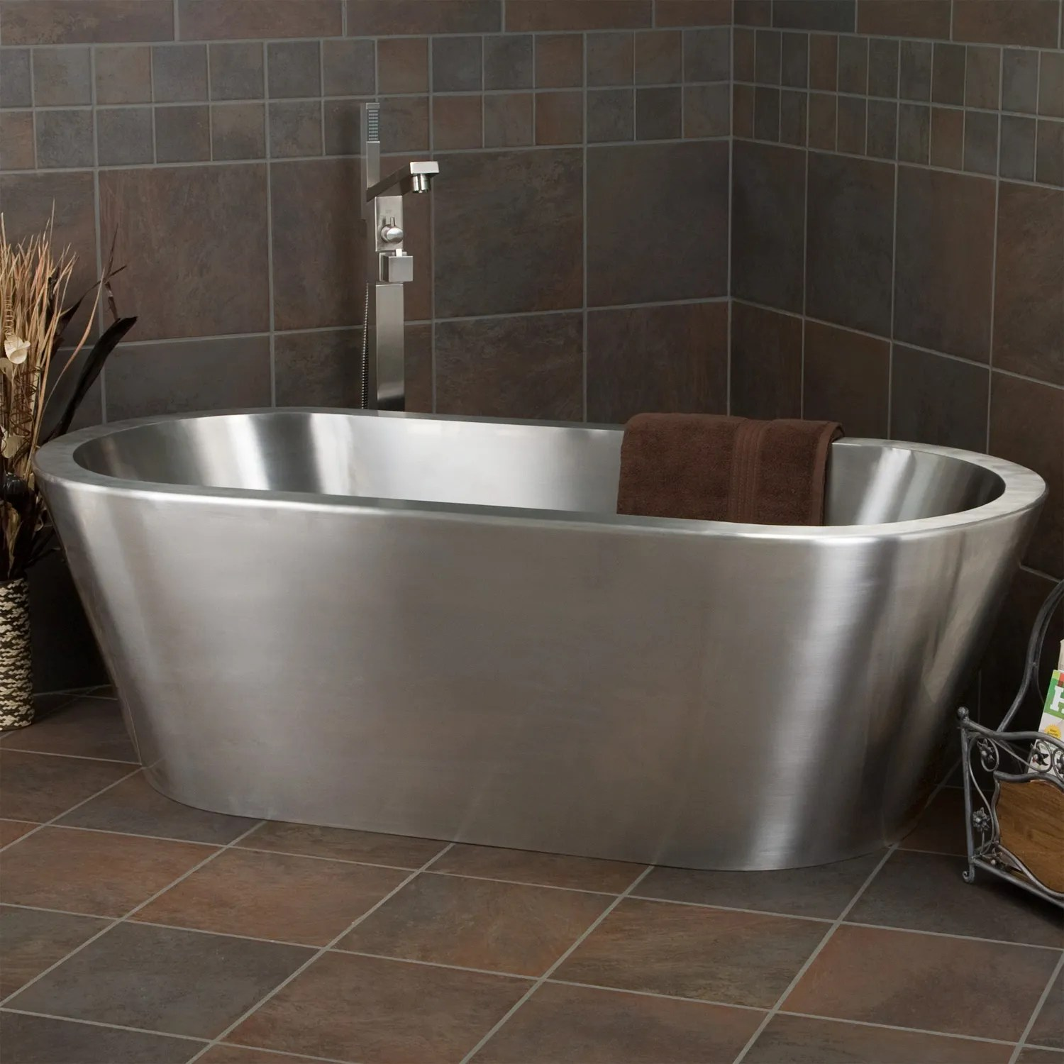 Stainless Steel Tub Steps for Round Soaking Tub  Brushed