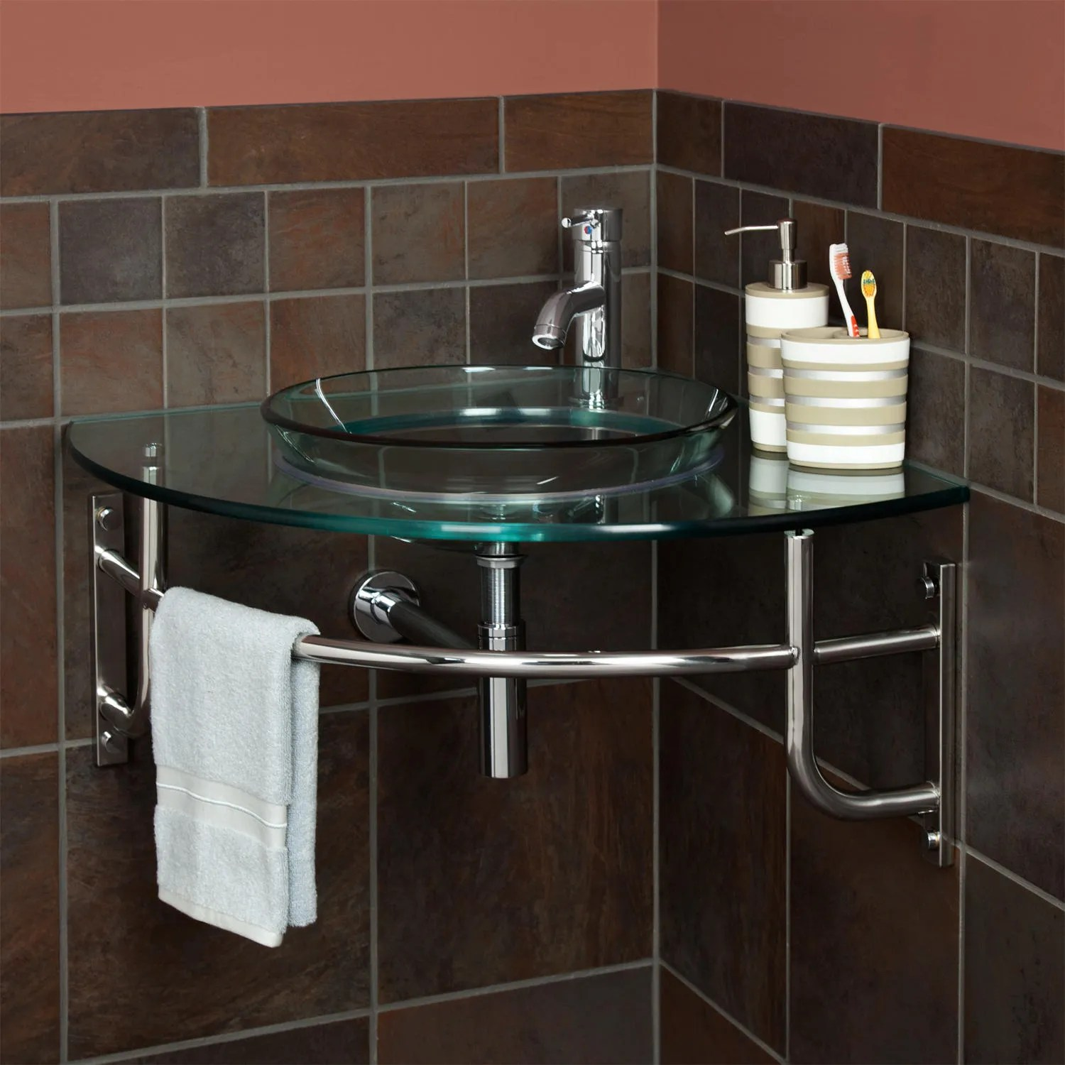 Ardmore WallMount Glass Corner Sink