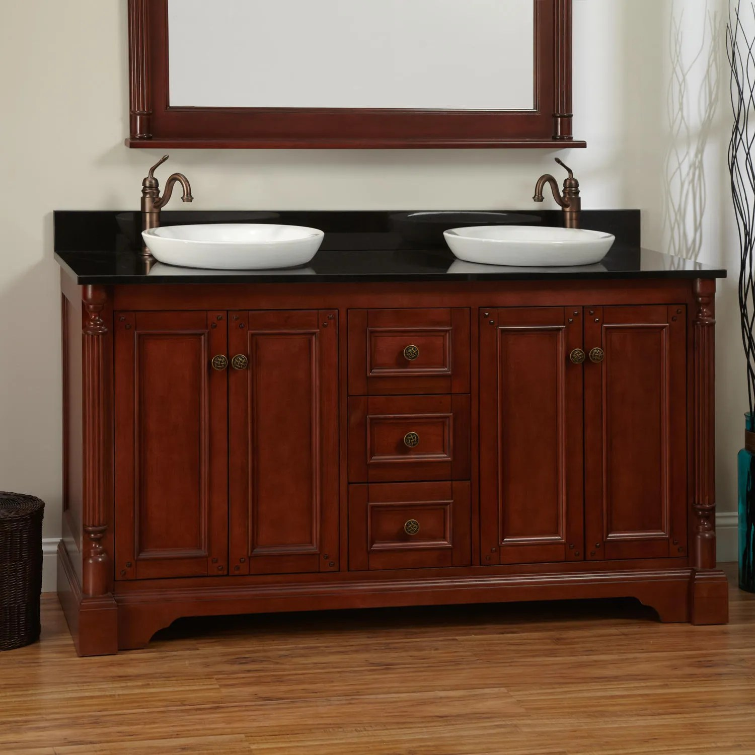 60 Trevett Double Vanity for Undermount Sinks  Walnut