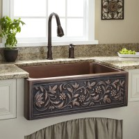 "30"" Vine Design Copper Farmhouse Sink 