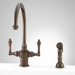 Brass Faucet Kitchen Elegant Cabinets Solid Signature Hardware Aiken Single Hole With Side Spray