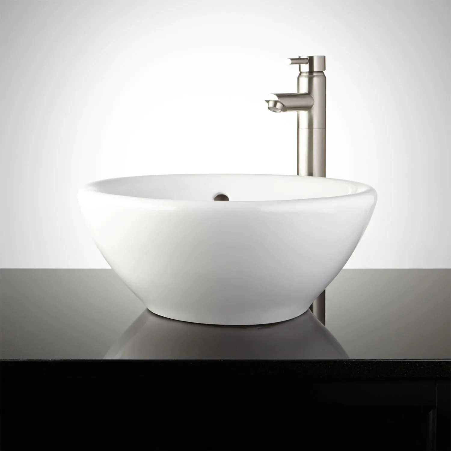 White Round Vessel Sink  Signature Hardware