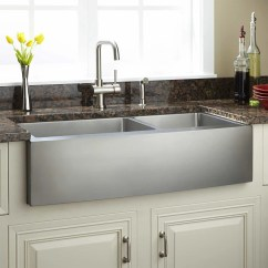 42 Inch Kitchen Sink Greenery Above Cabinets Farmhouse Signature Hardware Fournier 60 40 Offset Double Bowl Stainless Steel Curved