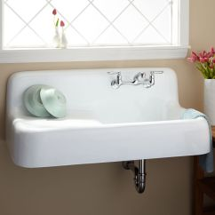 Deep Kitchen Sink High End Sinks Signature Hardware 42 Cast Iron Wall Mount With Drainboard