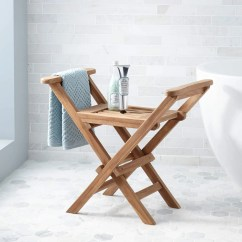 Teak Shower Chairs With Arms Revolving Chair Hsn Number Plastic Seat Signature Hardware