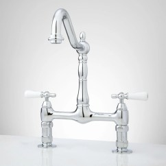 Blanco Master Gourmet Kitchen Faucet Grey Tile Douglass Bridge Porcelain Lever Handles